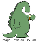 #27959 Clip Art Graphic Of A Late Green Dinosaur Looking At His Wrist Watch To Check The Time