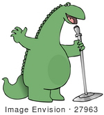 #27963 Clip Art Graphic Of A Green Comedian Or Singing Dinosaur Using A Microphone While Entertaining On A Stage