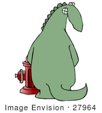 #27964 Clip Art Graphic Of A Mischievous Dinosaur Urinating On A Red Fire Hydrant And Looking Back And Grinning