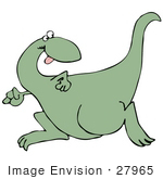 #27965 Clip Art Graphic Of A Fast Green Dinosaur Looking Back Over His Shoulder While Running