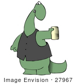 #27967 Clip Art Graphic Of A Green Dinosaur Wearing A Vest And Holding Out A Can Of Beer