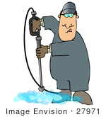 #27971 Clip Art Graphic Of A Caucasian Man Operating A Power Washer Nozzle And Pointing It Downwards