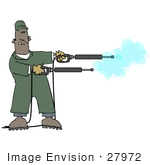 #27972 Clip Art Graphic Of An African American Man Operating Two Power Washer Nozzles At Once