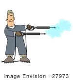 #27973 Clip Art Graphic Of A Caucasian Man Operating Two Power Washer Nozzles At Once