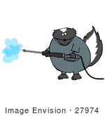 #27974 Clip Art Graphic Of A Humanlike Industrial Skunk Wearing Coveralls And Operating A Power Washer Nozzle