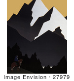 #27979 Man On Horseback Viewing Forests And Mountains In Montana Stock Illustration