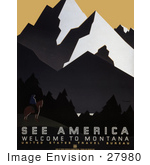 #27980 Man On Horseback With A Spectacular View Of Forests And Mountains In Montana Travel Stock Illustration