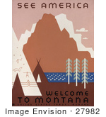 #27982 Native American Tipis And Rock Art By A River And Mountains In Montana Travel Stock Illustration