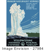 #27984 White Water Shooting Up Out Of The Old Faithful Geyser During An Eruption in Yellowstone National Park, Wyoming Travel Stock Illustration by JVPD