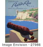 #27986 War Cannon By A Cliff Over The Harbor With A Veiw Of The Bartizan At Fort San Felipe Del Morro In Puerto Rico Travel Stock Illustration