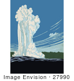 #27990 Eruption Of The Old Faithful Geyser In Yellowstone National Park Wyoming Stock Illustration