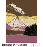 #27992 Volcanic Explosion Near Manzanita Lake in Lassen Volcanic National Park, California Stock Illustration by JVPD