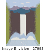 #27993 Big White Waterfall Splashing Into A Pool Below Near Snow Topped Mountains Stock Illustration