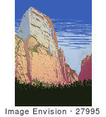 #27995 Large Rock Formation at Zion National Park In Utah Travel Stock Illustration by JVPD
