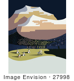 #27998 Native American On A White Horse, Riding Near Tipis Close To A Forest and Snow Capped Mountains in Montana Stock Illustration by JVPD