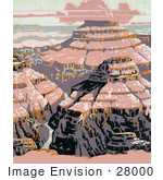 #28000 Pink Light Casting On The Grand Canyon National Park Arizona Stock Illustration