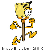 #28010 Clip Art Graphic Of A Straw Broom Cartoon Character Running