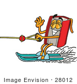 #28012 Clip Art Graphic Of A Book Cartoon Character Waving While Waterskiing
