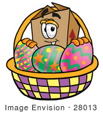 #28013 Clip Art Graphic Of A Cardboard Shipping Box Cartoon Character In An Easter Basket Full Of Decorated Easter Eggs