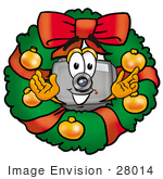 #28014 Clip Art Graphic Of A Flash Camera Cartoon Character In The Center Of A Christmas Wreath
