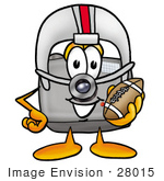 #28015 Clip Art Graphic Of A Flash Camera Cartoon Character In A Helmet Holding A Football