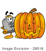 #28016 Clip Art Graphic Of A Flash Camera Cartoon Character With A Carved Halloween Pumpkin