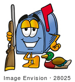 #28025 Clip Art Graphic Of A Blue Snail Mailbox Cartoon Character Duck Hunting Standing With A Rifle And Duck