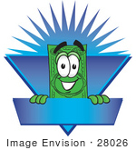 #28026 Clip Art Graphic Of A Flat Green Dollar Bill Cartoon Character On A Blue Label Logo With A Burst