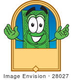 #28027 Clip Art Graphic Of A Flat Green Dollar Bill Cartoon Character On A Blank Tan Label