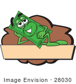 #28030 Clip Art Graphic Of A Flat Green Dollar Bill Cartoon Character Reclining Over A Tan Label And A Brown Background On A Logo