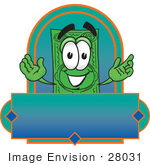 #28031 Clip Art Graphic Of A Flat Green Dollar Bill Cartoon Character On A Blank Green And Blue Label Logo