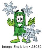 #28032 Clip Art Graphic Of A Flat Green Dollar Bill Cartoon Character With Three Snowflakes In Winter