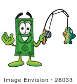 #28033 Clip Art Graphic Of A Flat Green Dollar Bill Cartoon Character Holding A Fish On A Fishing Pole