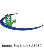#28035 Clip Art Graphic Of A Flat Green Dollar Bill Cartoon Character Waving While Standing Behind A Blue Dash On A Logo Or Employee Nametag