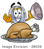 #28039 Clip Art Graphic Of A Blue Handled Magnifying Glass Cartoon Character Serving A Thanksgiving Turkey On A Platter