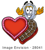 #28041 Clip Art Graphic Of A Blue Handled Magnifying Glass Cartoon Character With An Open Box Of Valentines Day Chocolate Candies