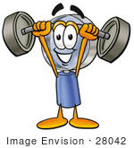 #28042 Clip Art Graphic Of A Blue Handled Magnifying Glass Cartoon Character Holding A Heavy Barbell Above His Head