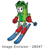 #28047 Clip Art Graphic Of A Rolled Greenback Dollar Bill Banknote Cartoon Character Skiing Downhill