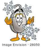 #28050 Clip Art Graphic Of A Wired Computer Mouse Cartoon Character Surrounded By Falling Snowflakes In Winter
