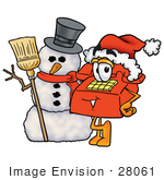 #28061 Clip Art Graphic Of A Red Landline Telephone Cartoon Character With A Snowman On Christmas