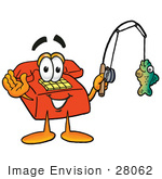 #28062 Clip Art Graphic Of A Red Landline Telephone Cartoon Character Holding A Fish On A Fishing Pole