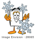 #28065 Clip Art Graphic Of A White Copy And Print Paper Cartoon Character Surrounded By Falling Snowflakes In Winter