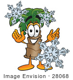 #28068 Clip Art Graphic Of A Tropical Palm Tree Cartoon Character Surrounded By Falling Snowflakes In Winter