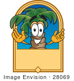 #28069 Clip Art Graphic Of A Tropical Palm Tree Cartoon Character On A Blank Tan Label Logo
