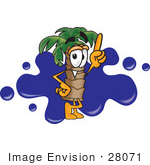 #28071 Clip Art Graphic Of A Tropical Palm Tree Cartoon Character Pointing Upwards In Front Of A Blue Paint Splatter On A Logo