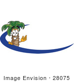 #28075 Clip Art Graphic Of A Tropical Palm Tree Cartoon Character Waving Behind A Blue Dash On An Employee Nametag Or Logo