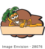 #28076 Clip Art Graphic Of A Tropical Palm Tree Cartoon Character Reclining Over A Tan Label