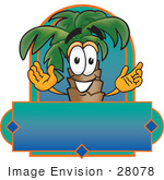 #28078 Clip Art Graphic Of A Tropical Palm Tree Cartoon Character On A Blank Label