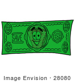 #28080 Clip Art Graphic Of A Cheese Pizza Slice Cartoon Character On A Dollar Bill