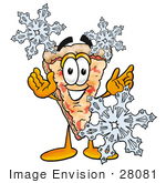 #28081 Clip Art Graphic Of A Cheese Pizza Slice Cartoon Character Surrounded By Falling Snowflakes In Winter